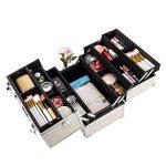 AMASAVA Mallette Maquillage Beauty Case avec cloison Valise Maquillage Coffret cosmétique Boîte à Maquillage, avec Bretelle et clé Coffrets Professionnelle - 37.5 × 24 × 28.5cm(Noir et Argent) de la marque AMASAVA image 1 produit