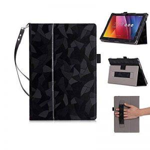"""ASUS Zenpad 10 Étui, ISIN ASUS Zenpad 10 Z300C Z300M Z301M Z301ML Z301MF (Ne pas pour Zenpad 3S 10 Z500M Z500KL) 10.1"""" Android Tablet-PC Premium PU Smart Folio Housse Étui Cover Avec Sangle,Titulaire de Stylet et Cordon(Noir) de la marque ISIN image 0 produit"""