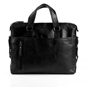 """BACCINI serviette LEANDRO - grand - attache-case approprié pour 15,4"""" - mallete cartable avec bretelle noir en cuir véritable de la marque BACCINI image 0 produit"""