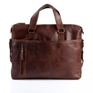 """BACCINI serviette LEANDRO - grand - attache-case approprié pour 15"""", iPad - mallete cartable avec bretelle clair marron en cuir véritable de la marque BACCINI image 0 produit"""