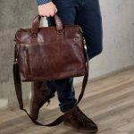 """BACCINI serviette LEANDRO - grand - attache-case approprié pour 15"""", iPad - mallete cartable avec bretelle clair marron en cuir véritable de la marque BACCINI image 4 produit"""