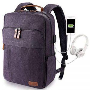 Estarer Sac à Dos Ordinateur Portable 17-17.3 Pouces en Toile Vintage Port de Chargeur USB Externe Travail Ecole Gris de la marque Estarer image 0 produit