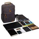 Estarer Sac à Dos Ordinateur Portable 17-17.3 Pouces en Toile Vintage Port de Chargeur USB Externe Travail Ecole Gris de la marque Estarer image 2 produit