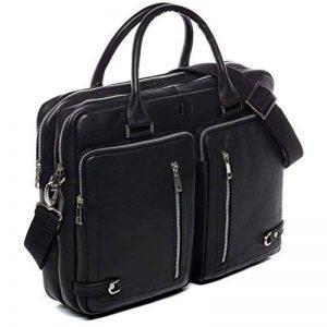 FERGÉ® sac pour ordinateur portable BETH - grand XL cartable messager sac business 15.4 file pouces - sac à bandoulière homme femme noir cuir de la marque FERGÉ image 0 produit
