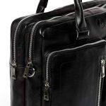 FERGÉ® sac pour ordinateur portable BETH - grand XL cartable messager sac business 15.4 file pouces - sac à bandoulière homme femme noir cuir de la marque FERGÉ image 3 produit
