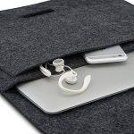 """Housse en feutre de laine KANVASA pour ordinateur portable 14 pouces et MacBook Pro 15"""" - Sac premium antracite pour Notebook Ultrabook avec cuir marron - Housse pour Apple Samsung Lenovo HP Dell et + de la marque KANVASA image 2 produit"""