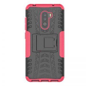 KISCO pour Coque Xiaomi Pocophone F1,2 en 1 Cover avec Support [Antichoc][Anti-Rayures] Heavy Duty Flexible TPU+PC Etui de Protection pour Xiaomi Pocophone F1-Rose Rouge de la marque KISCO image 0 produit