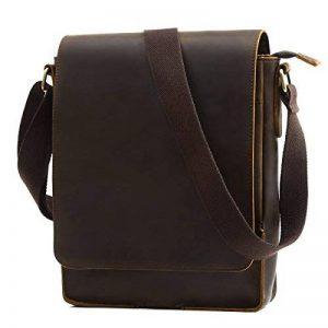 Leathario sac rétro en cuir sac vintage cartable en cuir pour homme sacoche en cuir pour hommes sac porte épaule pour hommes de la marque Leathario image 0 produit