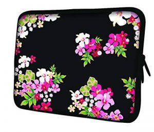 """Luxburg 10"""" pouces Housse Sacoche Pochette pour ordinateur portable / tablet - Fleurs sur fond noir de la marque Luxburg® image 0 produit"""