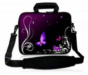 Luxburg® design housse sacoche pochette en néoprène avec bandoulière et pochette pour ordinateur portable 10,2 pouces, motif: Papillons lilas de la marque Luxburg® image 0 produit
