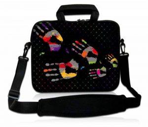 Luxburg® design housse sacoche pochette en néoprène avec bandoulière et pochette pour ordinateur portable 15,6 pouces, motif: Empreintes de main de la marque Luxburg® image 0 produit