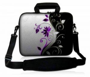 Luxburg® design housse sacoche pochette en néoprène avec bandoulière et pochette pour ordinateur portable 17,3 pouces, motif: Vrille de fleurs lilas/blanche de la marque Luxburg® image 0 produit