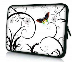 Luxburg® design housse sacoche pochette pour ordinateur portable 13,3 pouces, motif: Papillon multicolore sur blanc de la marque Luxburg® image 0 produit