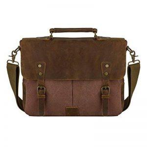 Messenger Bag, P.KU.VDSL Sacs à bandoulière en cuir véritable sac crossbody sac à main unisexe sac en cuir pour ordinateur portable de 14 pouces de la marque P.KU.VDSL® image 0 produit