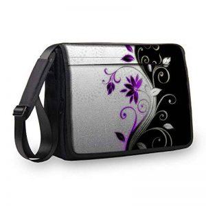 MySleeveDesign Notebook Cartable Messager à bandoulière Sac pour ordinateur portable 13,3 Pouces / 14 Pouces / 15,6 Pouces / 17,3 Pouces - Plusieurs Modeles - Purple Flower - 17 de la marque MySleeveDesign image 0 produit