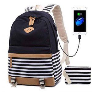 Netchain Femmes Sac à Dos Toile Cartable pour Fille collège Canvas Backpack Sac à Dos Folk Rayé Sac à Dos pour Ordinateur Portable pour 15.6'', USB Charging Port de la marque Netchain image 0 produit