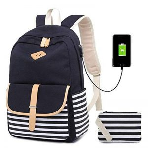Netchain Sac à dos toile Femmes Canvas Backpack Collège Cartable pour fille Sac à dos loisir Sac à dos pour ordinateur portable pour 15.6'', USB Charging Port de la marque Netchain image 0 produit