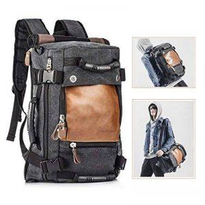 Overmont 35L sac à dos du style vintage multifonctionnel portable sac à main l'ouveryure et fermeture zippée en cuir/toile pour randonnée voyage en plein air khaki/ noir de la marque Overmont image 0 produit
