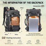 Overmont 35L sac à dos du style vintage multifonctionnel portable sac à main l'ouveryure et fermeture zippée en cuir/toile pour randonnée voyage en plein air khaki/ noir de la marque Overmont image 1 produit