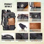 Overmont 35L sac à dos du style vintage multifonctionnel portable sac à main l'ouveryure et fermeture zippée en cuir/toile pour randonnée voyage en plein air khaki/ noir de la marque Overmont image 3 produit