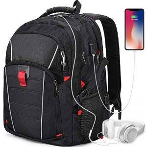Sac à Dos 17.3 pouces Ordinateur Portable Imperméable Port de Charge USB Headphone Port Hommes Grande Capacité Laptop D'affaires Sac Noir de la marque NEWHEY image 0 produit