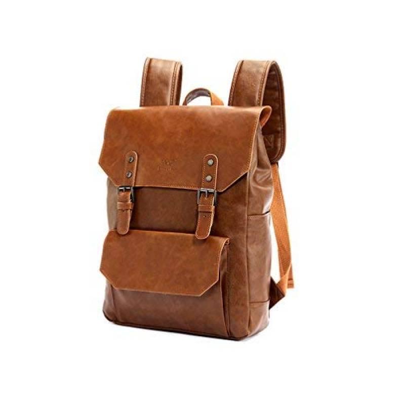 Minetom unisexe Vintage PU Cuir Couleur Unie Multi-Fonction Scolaire Backpack Ordinateur Portable Sac /à Dos Randonn/ée Voyage