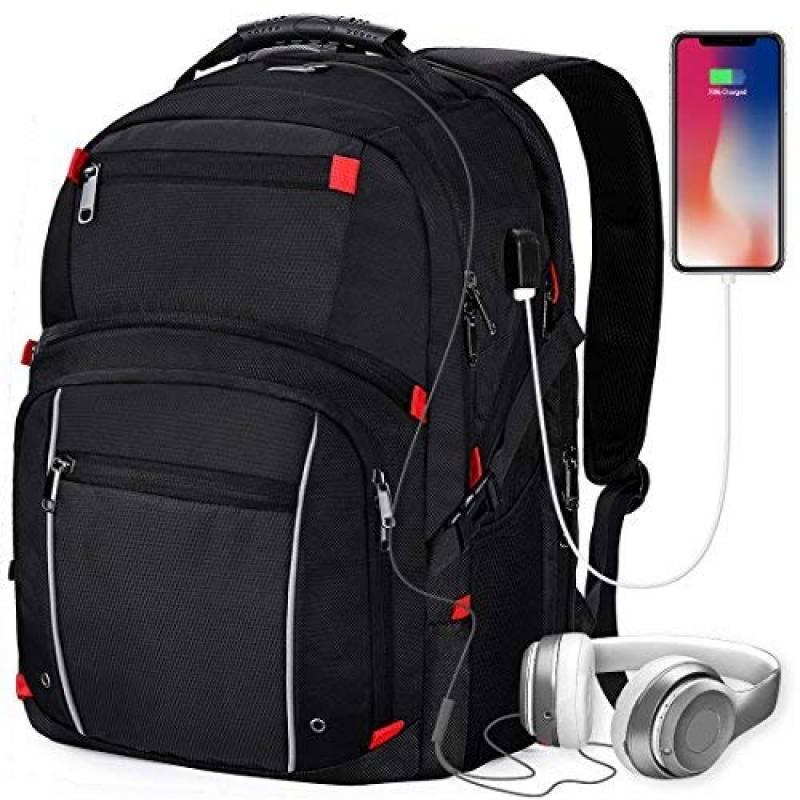 Sac à Dos Ordinateur Portable 17,3 Pouces Backpack Étanche Sac Bandoulière USB