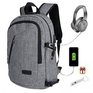 Sac à dos professionnel pour ordinateur portable Sacs universitaires pour école avec chargeur USB et port pour écouteurs Sac à dos imperméable anti-vol pour hommes et femmes, pour ordinateur portable de 15,6 pouces - Gris de la marque adoya image 0 produit