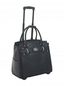 Sac noir faux alligator roulant pour ordinateur portable, mallette à roulettes, ou sac de Voyage avec des roues. de la marque JKM and Company image 0 produit