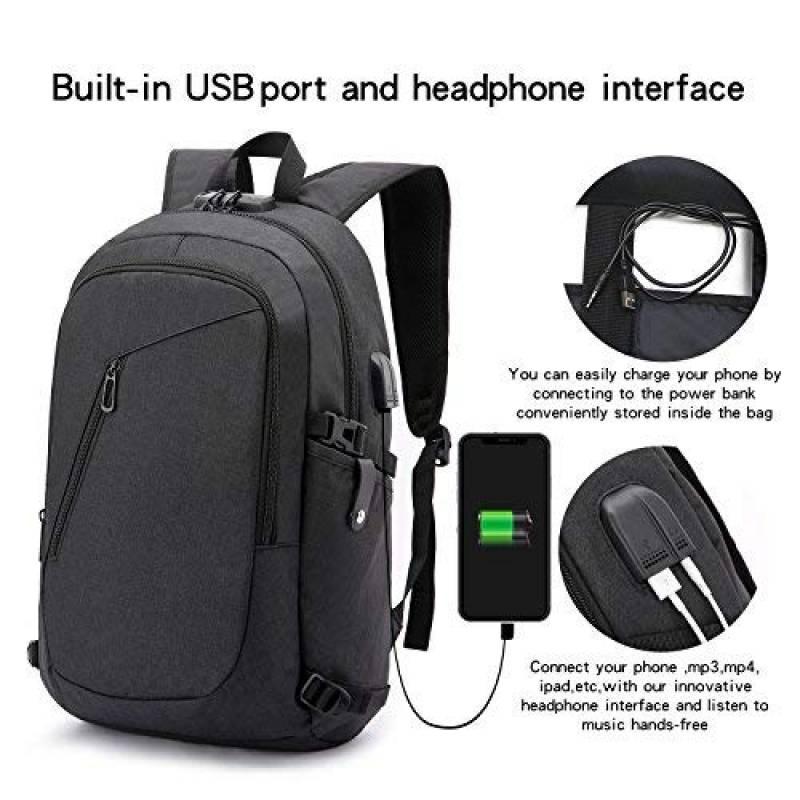 e5697858ce Antivol Sac à Dos Ordinateur Portable 15.6 Pouces Homme Imperméable avec  USB Charging Port And Headphone Port Sac à Dos D'affaires Sac à Dos  Fonctionnel ...