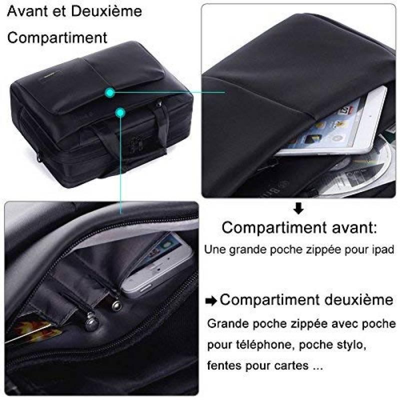 ed632ea6d0 Sacoche ordinateur portable, BRINCH 17.3 pouces Nylon Elégant Volumineux  Multi-compartiments, Sac à bandoulière pour ordinateur portable Sac à main  ...