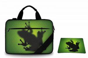 Silent Monsters Sac de toile pour ordinateur portable de 17.3 pouces (43,9 cm) avec tapis de souris, Design: green frog de la marque Silent Monsters image 0 produit