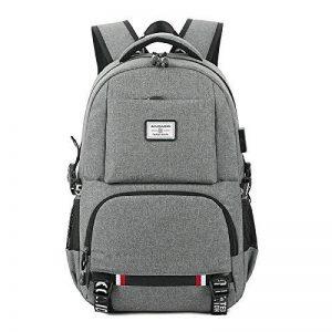 Tiny Fin portable sac avec chargeur usb port & casque port & lock, résistant à l'eau sac business sac / sac d'école pour l'université voyager sac sac colle jusqu'à 18 pouces pc et tablette, gris de la marque Tiny Fin image 0 produit